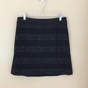 LOFT Black Wool with Sequins Mini Skirt 10 Petite